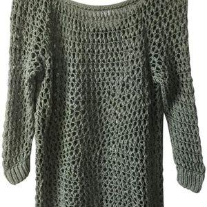 Theory crochet open knit green sweater